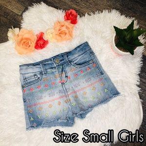 Aztec jean shorts- kids girls
